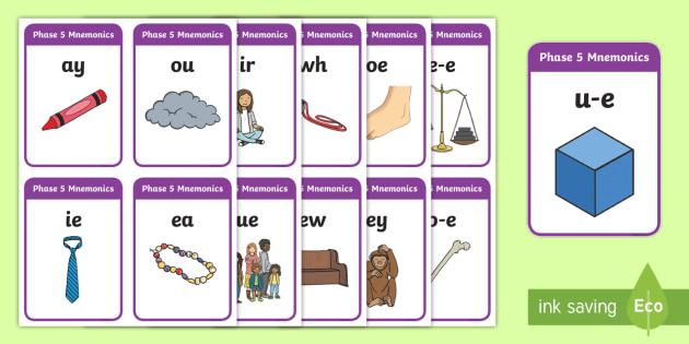 Large Phase 5 Mnemonic Word / Image Cards - Phonemes, Phase 5, Phase five, Mnemonic cards, DfES Letters and Sounds, Letters and sounds, Letter flashcards, Image and Word Cards