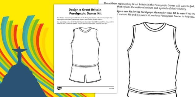 Design a Great Britain Paralympic Games Kit Activity Sheet, worksheet