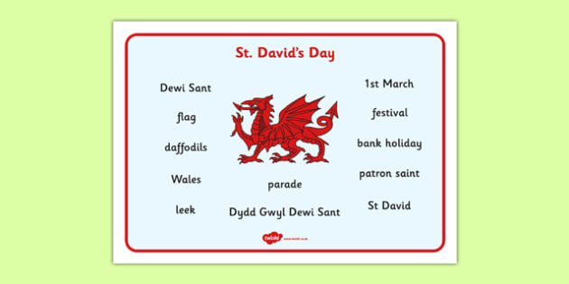 St David's Day Word Mat - St Davids Day, word mat, writing aid, Dewi sant, St David, daffodil, Wales, cymru, leek, parade, patron saint