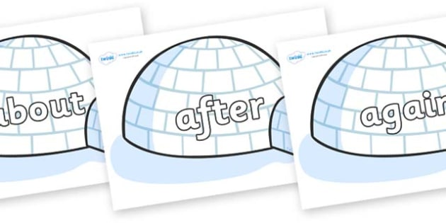 KS1 Keywords on Igloos - KS1, CLL, Communication language and literacy, Display, Key words, high frequency words, foundation stage literacy, DfES Letters and Sounds, Letters and Sounds, spelling