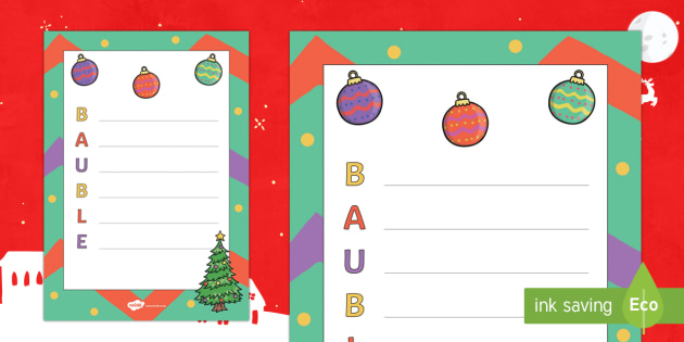 Christmas Bauble Acrostic Poem