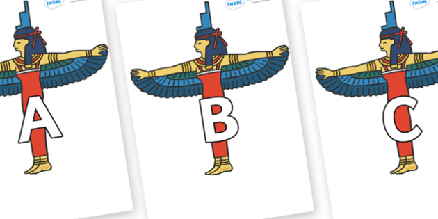 A-Z Alphabet on Egyptians - A-Z, A4, display, Alphabet frieze, Display letters, Letter posters, A-Z letters, Alphabet flashcards