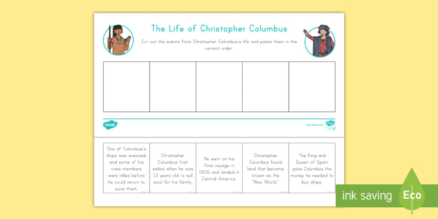 Life of Christopher Columbus Worksheet / Activity Sheet