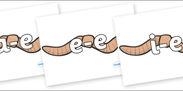 Modifying E Letters on Worms - Modifying E, letters, modify, Phase 5, Phase five, alternative spellings for phonemes, DfES letters and Sounds