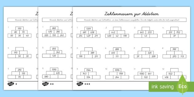 NEW * Zahlenmauern zur Addition Arbeitsblätter: