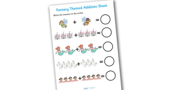 Fantasy Themed Addition Sheet - fantasy themed, addition sheet, addition worksheet, fantasy themed worksheet, fantasy themed addition sheet