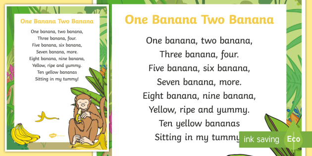 One banana two banana Display Poster - Mathematics, Rhyming Songs, rhyme, song, banana, monkey, counting, mathematics, counting songs, numb