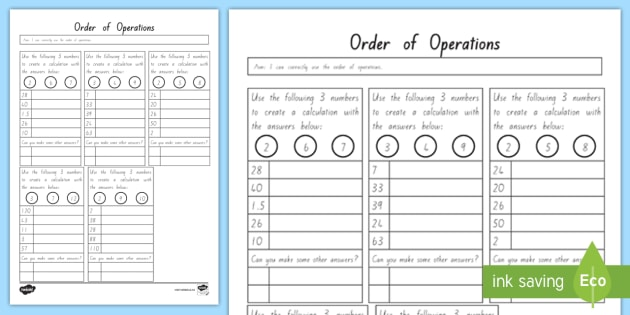 Order Of Operations Bedmas Activity Sheet Worksheet