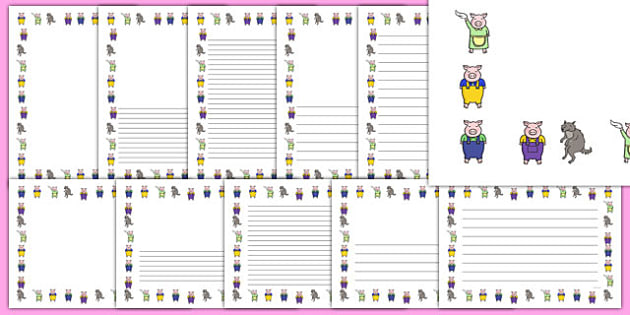 The Three Little Pigs Page Borders - page border, border, frame, writing frame, traditional tales, three little pigs, three little pigs borders, three little pigs portrait borders, writing template, writing aid, writing, A4 page, page edge, writing a