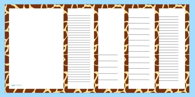 Giraffe Skin Page Borders - writing templates, writing frames