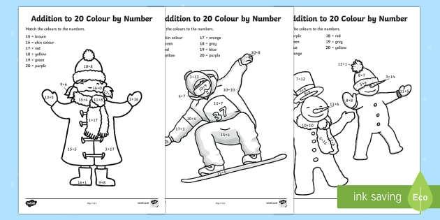 Winter Themed Addition to 20 Colour by Number Worksheet / Activity Sheet