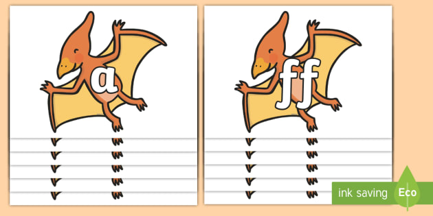 Phase 2 Phonemes on Pterodactyl Dinosaurs - Phonemes, phoneme, Phase 2, Phase two, Foundation, Literacy, Letters and Sounds, DfES, display