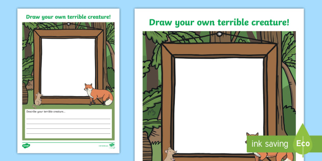 draw your own terrible woodland creature activity sheet draw