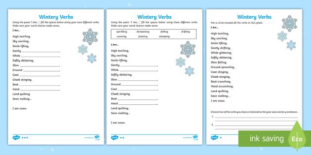 ks1 wintery verbs based on i am poem differentiated worksheet worksheet. Black Bedroom Furniture Sets. Home Design Ideas