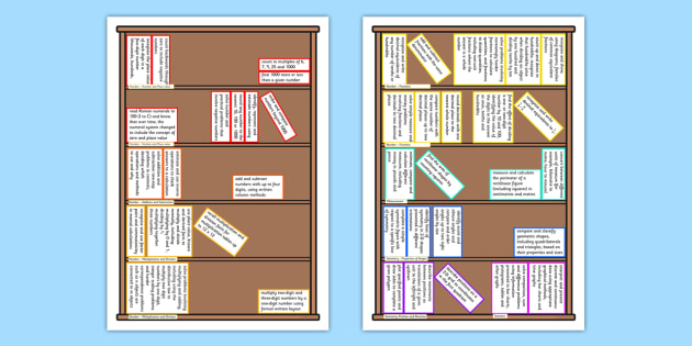 2014 National Curriculum Year 4 Maths Assessment Target Colouring Bookshelf