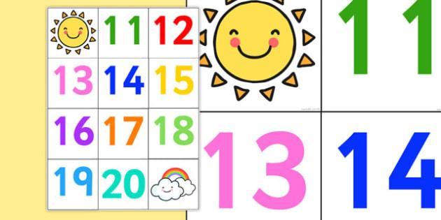 Bee-Bot Number Mat 11-20 - bee bot, bee-bot, beebot, mat, number mat, 11-20