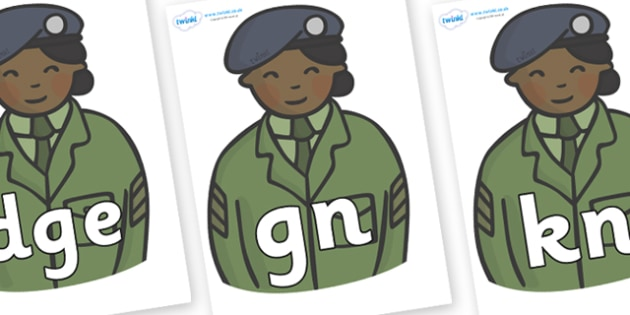 Silent Letters on Officers - Silent Letters, silent letter, letter blend, consonant, consonants, digraph, trigraph, A-Z letters, literacy, alphabet, letters, alternative sounds
