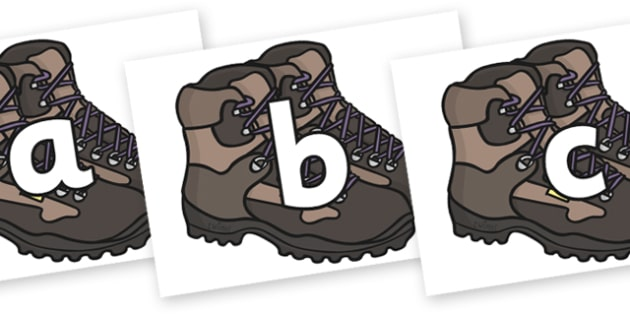 A-Z on Walking Boots - a-z, alphabet, display alphabet, walking boots, alphabet on walking boots, a to z on walking boots, shoes, boots, literacy