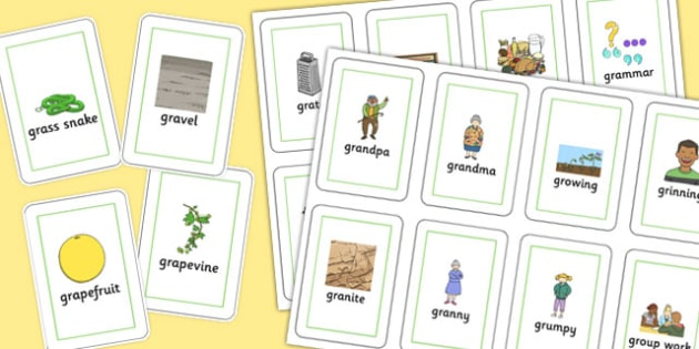 Two Syllable GR Playing Cards - sen, sound, gr sound, gr, two syllable, playing cards