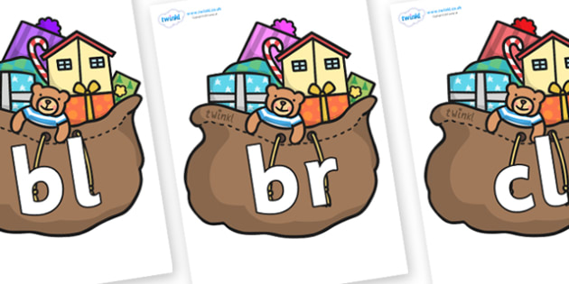 Initial Letter Blends on Christmas Presents - Initial Letters, initial letter, letter blend, letter blends, consonant, consonants, digraph, trigraph, literacy, alphabet, letters, foundation stage literacy