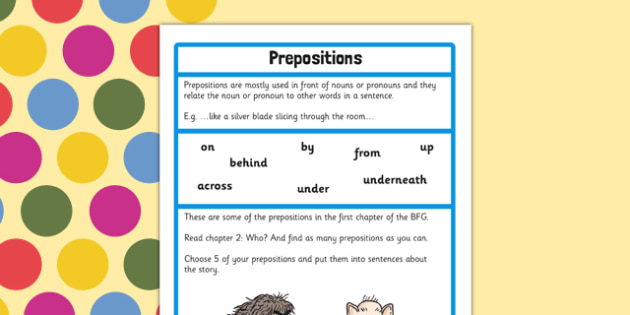 Preposition Challenge Activity to Support Teaching on The BFG - bfg, challenge, preposition