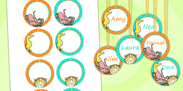Under the Sea Themed Birthday Party Name Tags - birthday, parties
