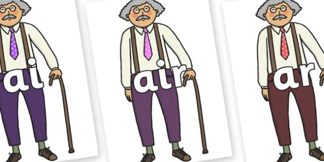 Phase 3 Phonemes on Little Old Man - Phonemes, phoneme, Phase 3, Phase three, Foundation, Literacy, Letters and Sounds, DfES, display