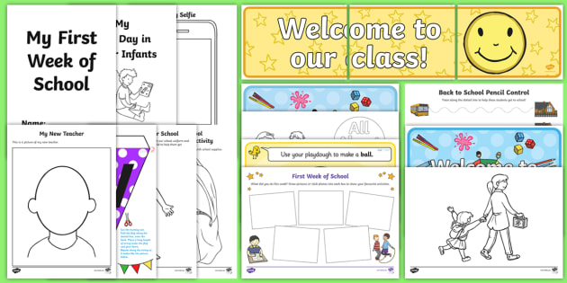 First Day Back to School Activities Infants Resource Pack