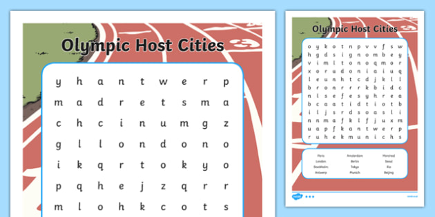 Olympic Host City Word Search - usa, america, host city, word search