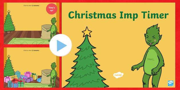 The Christmas Imp Christmas Present Timer PowerPoint - The Christmas Imp, the grinch, the grinch who stole christmas, christmas, green, imp, timer