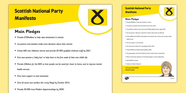 Scottish Elections 2016 Scottish National Party Manifesto Child Friendly - Scottish Elections, Politics, Holyrood 2016, Politicians, voting, electing, main pledges
