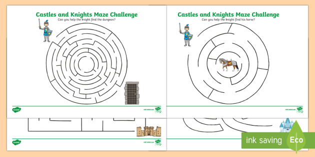 Castles and Knights Maze Activity Sheet - castle, knight , worksheet
