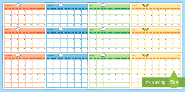 Academic Year Monthly Calendar Planning Template 2017 2018