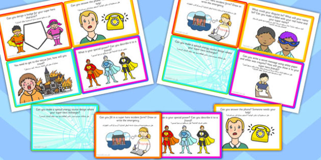 Super Hero Role Play Challenge Cards Arabic Translation - arabic