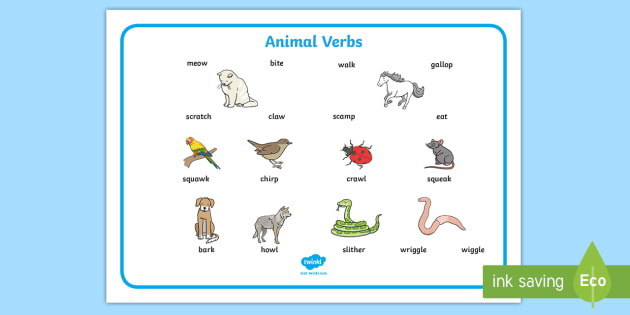 New Animal Verbs Word Mat Animal Action Action