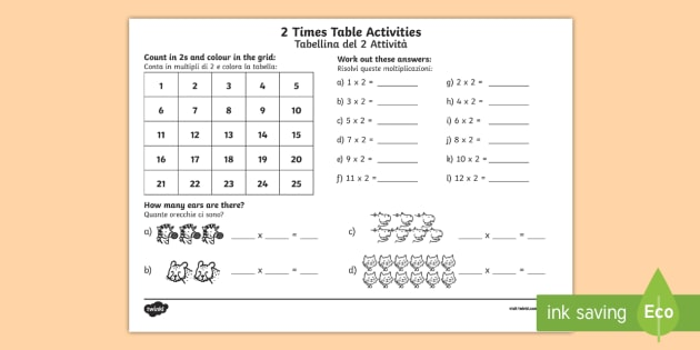 2 Times Table Worksheet Worksheet English Italian Eal 2 Times Table