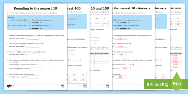 rounding to 10 100 with word problems differentiated worksheet activity. Black Bedroom Furniture Sets. Home Design Ideas