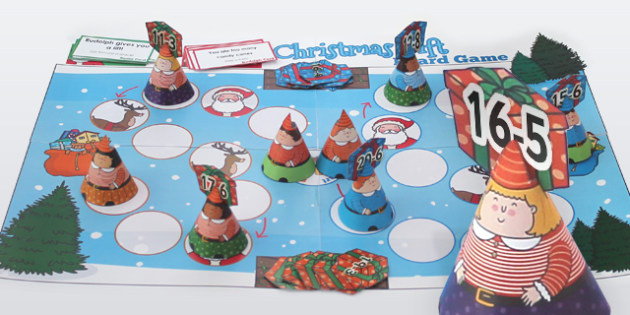 Subtraction from 20 Christmas Board Game - Games, Activities