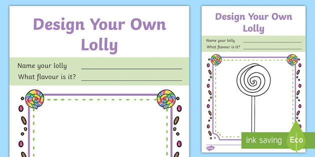 Lolly Design Template to Support Teaching on Charlie and the Chocolate Factory