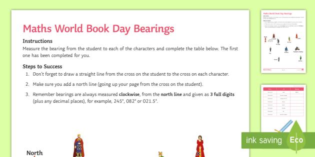 Maths World Book Day Bearings Worksheet Activity Sheet