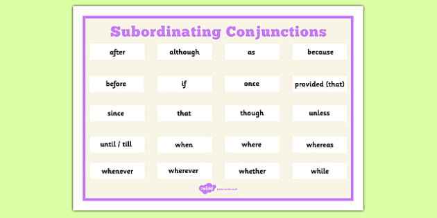 Subordinating Conjunctions Word Mat Year 3 4 5 6