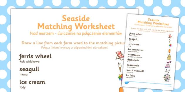 Seaside Themed Word and Picture Matching Worksheet Polish Translation - polish