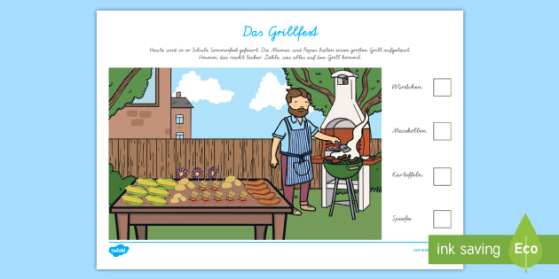 das grillfest arbeitsblatt erstes z hlen sommer jahreszeiten kl 1 2. Black Bedroom Furniture Sets. Home Design Ideas