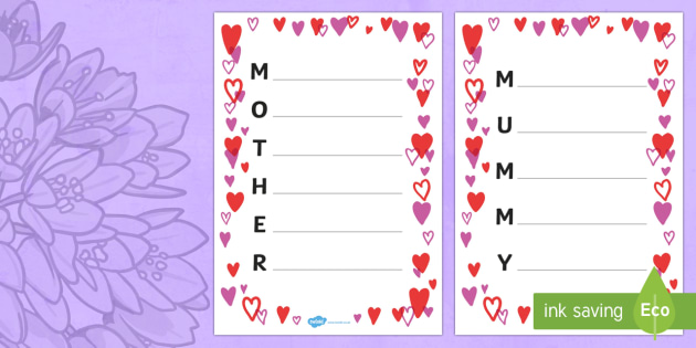 Australia Mother's Day Acrostic Poem Template (Hearts)