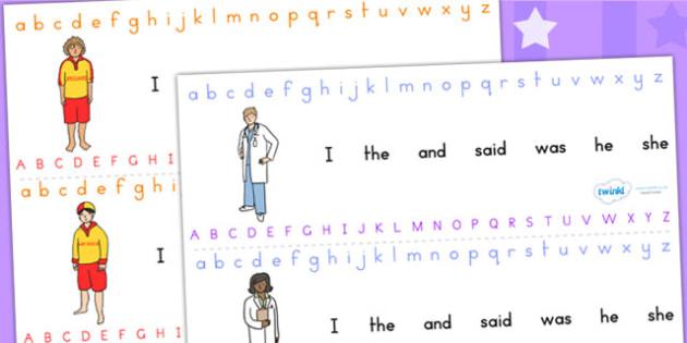 People Who Help Us Alphabet Strips - a-z, a-z strip, visual aid