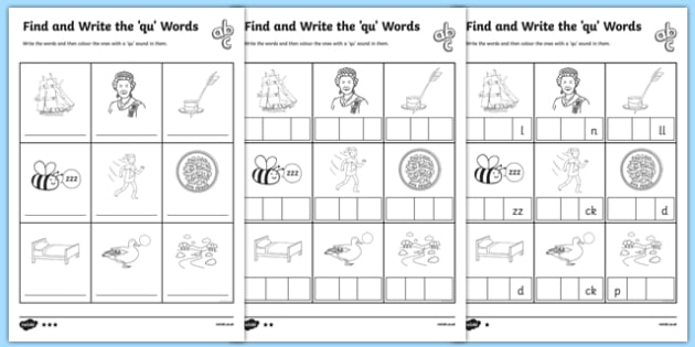 Find and Write the qu Words Differentiated Activity Sheet Pack, worksheet