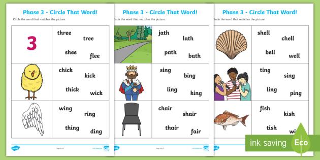 Ch, Sh, Th, Ng Circle That Word Worksheet - ch, sh, th, ng, circle, word