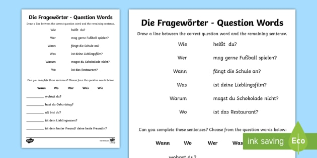 question words activity german german grammar resources