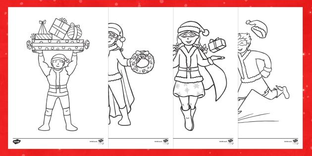 Santa Suit Superheroes Colouring Pages