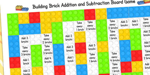 EYFS Building Bricks Addition and Subtraction Board Game - adding, subtract